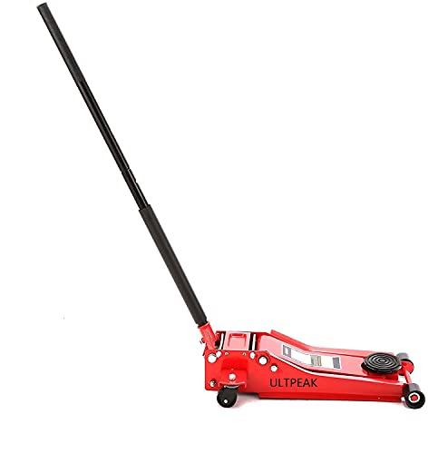 ULTPEAK Gato de piso de 3 toneladas de acero resistente 70 mm de perfil ultra bajo para entrada de carretilla Jack de alta elevación para garaje o coche
