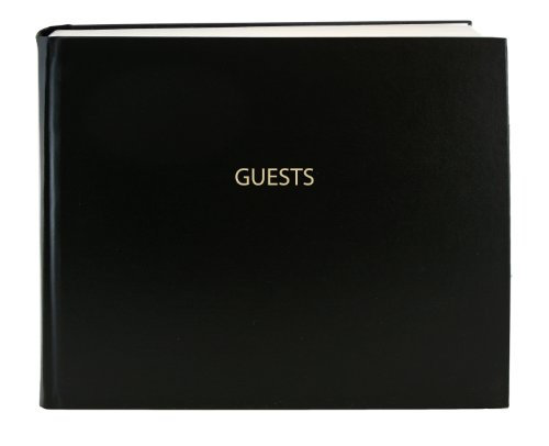 "BookFactory Guest Book (120 Pages) / Guest Sign-in Book/Guest Registry/Guestbook - Black Cover, Smyth Sewn Hardbound, 8 7/8"" x 7"" (LOG-120-GUEST-A-LKT25)"
