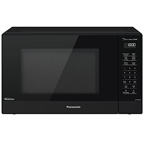 Panasonic NN-SN65KB Microwave Oven with Inverter Technology 1200W, 1.2 cu.ft. Small Genius Sensor One-Touch Cooking, Popcorn Button, Turbo Defrost-NN-SN65KB (Black)