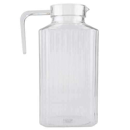 Jarra de acrílico con tapa y asa, botella de jugo a rayas acanaladas Cristalería Vaso de agua Dispensador de agua helada para uso doméstico(1800ml)