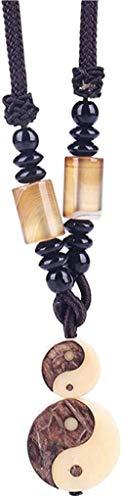 Collar para mujeres y hombres, original hecho a mano tibetano budista tai chi collar con colgante de cuerda de piedra natural, collar budismo amuleto joya, collar para niñas y niños