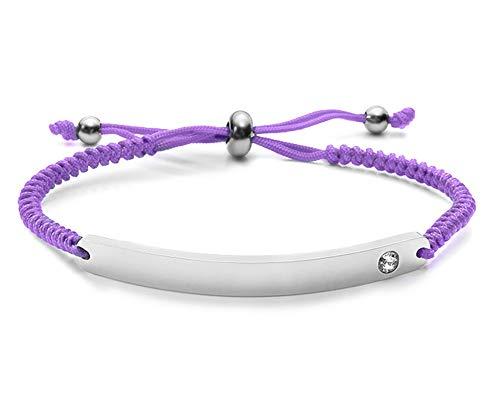 Silvity Damen Gravur-Armband Edenlstahl veredelt mit einem Swarovski¨ Kristall 16,5 cm bis 20,5 cm Wunschgravur inkl. Geschenkbox (Silber-Lila)