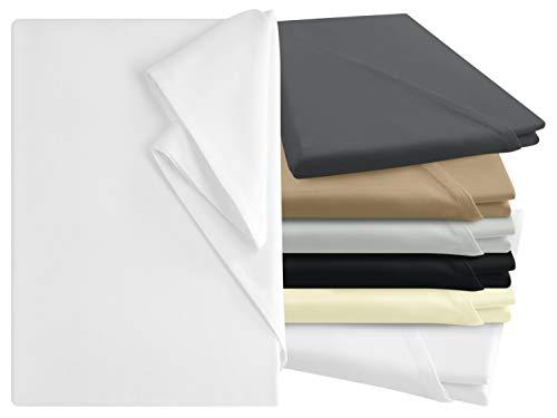 npluseins Bettlaken - 100% Baumwolle - in 6 Farben - in 3 verschiedenen Größen - Haushaltstuch ohne Spanngummi, ca. 240 x 275 cm, weiß