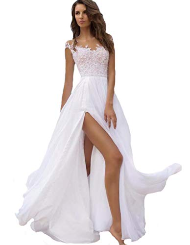 Women's Double V Neck Lace Beach Wedding Dress High Slit Chiffon Bridal Gown Cap Sleeves Formal Evening Dresses