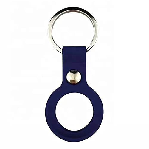 Airtag - Custodia protettiva in silicone compatibile con Apple Airtag – Chiusura sicura – Perfetta vestibilità – Facile da appendere – Per chiavi auto, zaino, borsa blu scuro Taglia unica