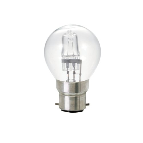 Bulk Hardware BH02381 Eco-halogeen energiebesparende golfbal, dimbare gloeilamp, 18 W, bajonetfitting, wit, 5 stuks