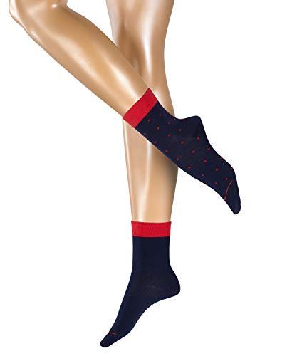 ESPRIT Damen Socken Small Dots 2er Pack - 80% Baumwolle, 2 Paar, Blau (Marine 6120), Größe: 35-38