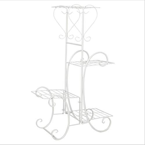 Support à fleurs Design créatif Art de Fer Multicouche Style Style Simple Balcon Plateau En Pot Support à Fleurs Intérieur Jardin Extérieur Balcon Jardin (Couleur : Blanc)