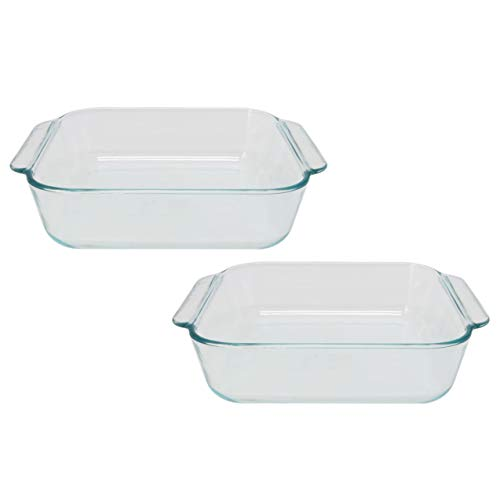 Pyrex 222 Square Clear Glass Baking Dish - 2 Pack