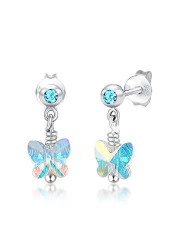 Elli Orecchini da bambini, motivo a farfalla, con brillanti cristalli, in argento sterling 925
