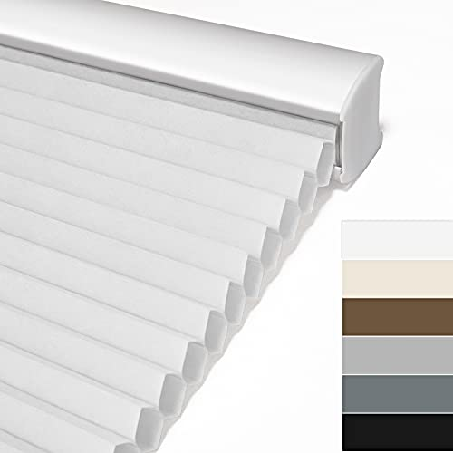 Keego Light Filtering Cordless Window Cellular Shades Honeycomb Blinds for Windows-Custom Cut to Size Noise Cancelling Window Blinds & Shades for Home Kitchen Bedroom Office (White, Any Size)