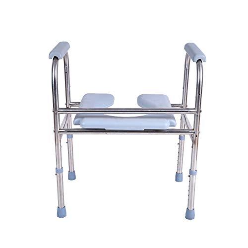 SSZZ roestvrijstalen toiletstoel, verstelbaar, mobiel, versterkt toiletbril, antislip en duurzaam, geschikt voor oudere patiënten, enz.