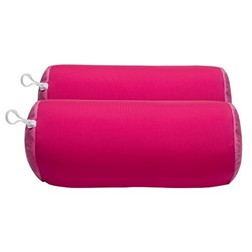 World's Best 2 pcs Microbead Bolster Tube Pillows, Smooth Cool Touch Fabric, Neck or Back Support Pillows, Hypoallergenic, Pink