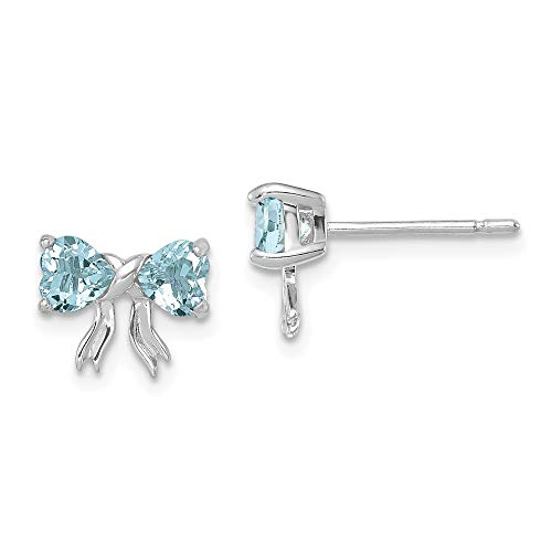 9mm 14ct White Gold Polished Aquamarine Bow Post Earrings Jewelry Gifts for Women