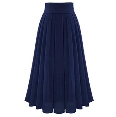 Women's Tulle Maxi Skirts| Elegant Chiffon Party Dress| High Waist Solid Pleated Long Skirt (S, Navy)