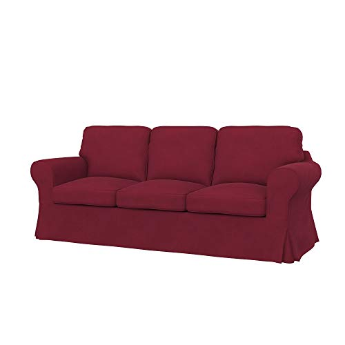 Soferia Bezug fur IKEA EKTORP 3er-Bettsofa, Stoff Majestic Velvet Wine Red