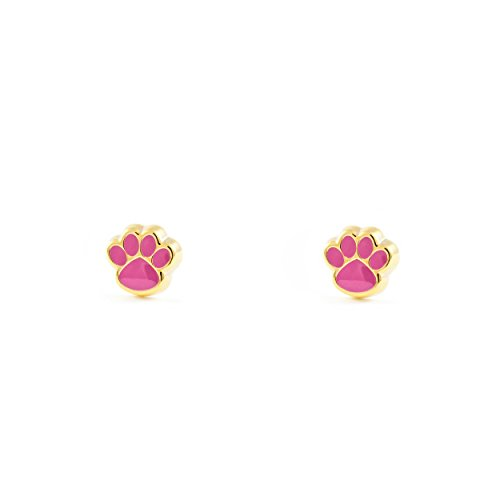 Pendientes Oro Bebe o Niña Zarpa esmalte rosa (9kts)
