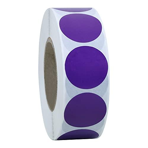 Hybsk - Etichette adesive rotonde in carta naturale, 1,000 pezzi, colore giallo, 1,000 per rotolo (viola)