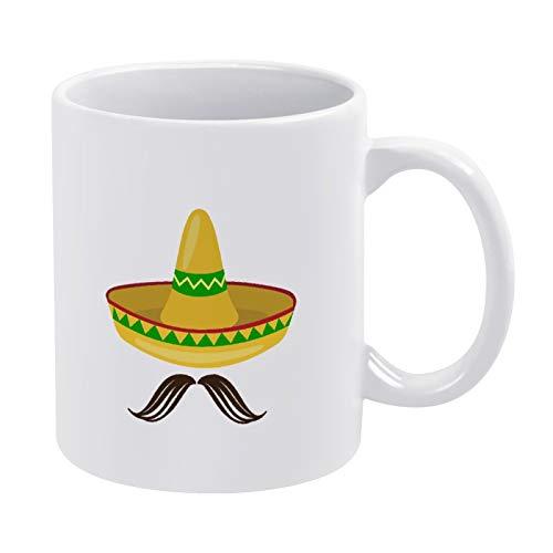 Sombrero Hut mit Schnurrbart Kaffeetasse Geschenk für Männer Frauen Freund Geburtstag 325 ml Weiß Keramik Zitat Tasse