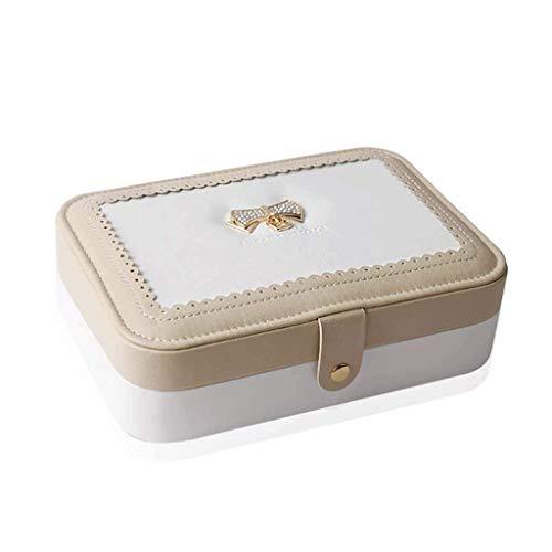SHUMEISHOUT Caja de joyería Organizador de Cuero para Anillos, Pendientes, Collar, Reloj, Pulsera |Espejo de Terciopelo y Bolsa incorporados (Color : White)