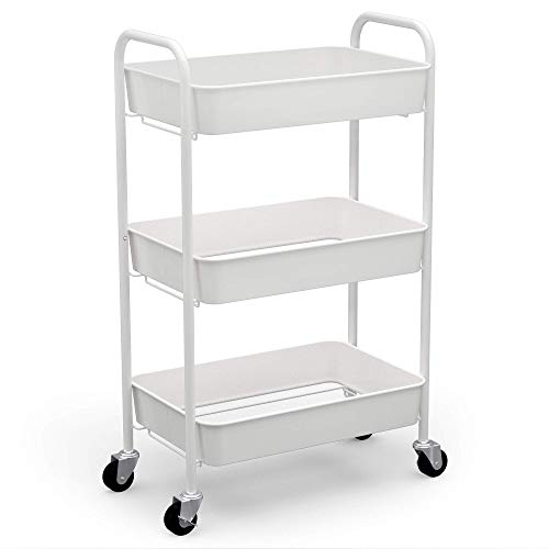 CAXXA 3-Tier Rolling Metal Storage Organizer - Mobile Utility Cart Kitchen Cart with Caster Wheels, White