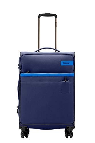 STRATIC Light Koffer weichschale Trolley Rollkoffer Reisekoffer 4 Rollen TSA-Zahlenschloss, erweiterbar, extra leicht, inkl. Einkaufsbeutel, Größe M, Navy