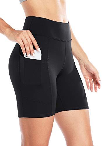 Anwell Yoga Pants Damen Blickdicht kurz Sporthose Hohe Taille mit Tasche Thermo Kurze Hose Push up Yogahose Schwarz M