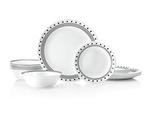 Corelle Service for 6 Chip Resistant City Block dinner plates 18-piece