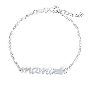 """Pulsera Mamá con Corazón Plata de Ley 925 El largo de la pulsera es de 16 cm y tiene una extensión de 3 cm para que puedas adaptarla mejor a tu muñeca. El tamaño de la palabra """"mamá"""" es de 3 cm x 0,5 cm Wanda Plata es una marca española, todas nuestr..."""