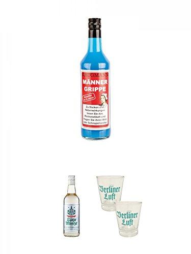 Krugmann Männergrippe Ice-Mint-Likör 0,7 Liter + Lütje Minze Pfefferminzlikör 0,7 Liter + Berliner Luft Shot Glas 4cl 2 Stück