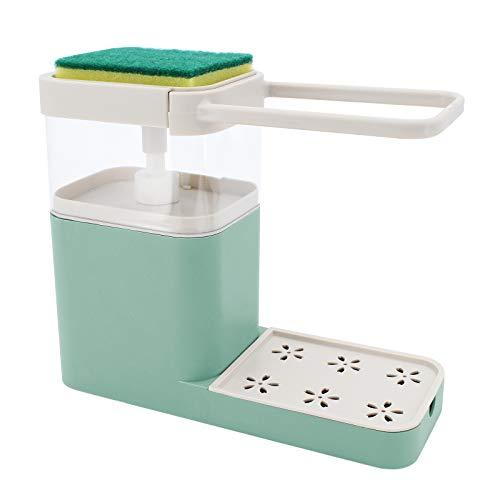 TAECOOOL Verbesserter Seifenspender, Seifenspender und Schwammhalter Waschbecken Spülseifenspender, Seifenspender für Küchenutensilien (Grün)
