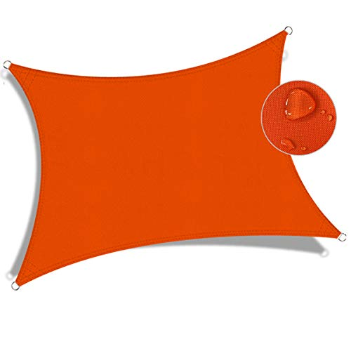 JYYnet Toldo Vela de Sombra, Rectángulo 2×3m Toldo Vela de Sombra Prevención Rayos UV Poliéster Toldo para Terraza Exterior Jardín (2×3m, Rojo Anaranjado)