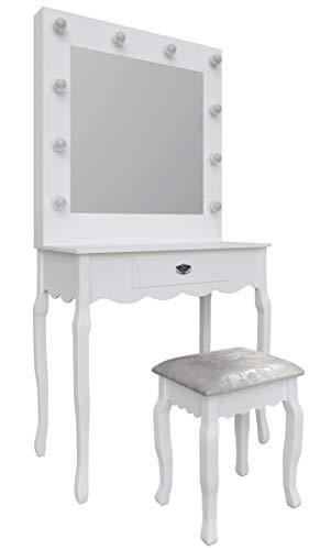 Hollywood Mirror Tocador de tocador con luz con taburete + 10 bombillas LED | Estación de maquillaje