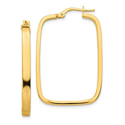14k Yellow Gold 2x2mm Square Hoop Rectangle Earrings Ear Hoops Set Fine Jewellery For Women Gifts For Her
