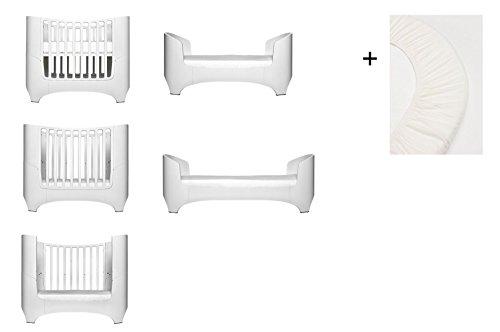 weiß Leander Baby- und Kinderbett + 1 Set (= 2 Stück) Original-Spannbetttücher in der Babygröße