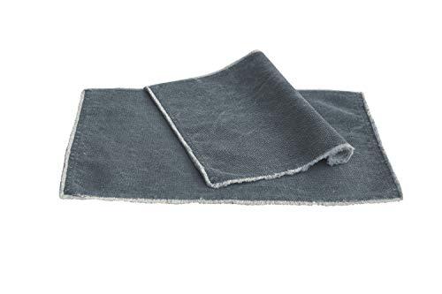 Pichler Suna Used Look strukturierte Baumwolle mit Fransen (Tischset ca. 33x48cm Demin)
