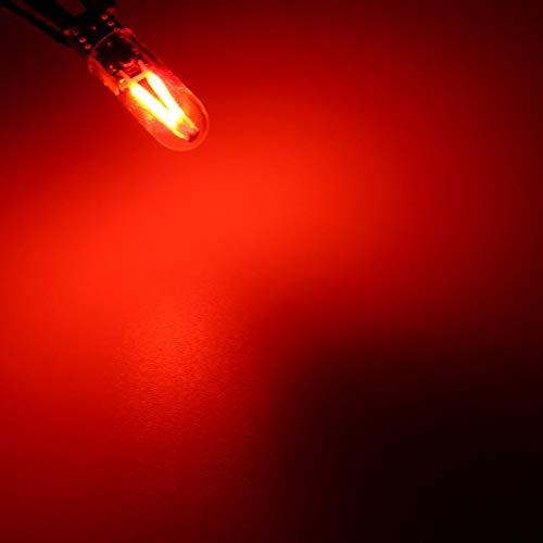 LED COCHE SIDE SIDE LED LIGHT COB FILAMENTO BULB T10 W5W Licenciatura Light Light CANBUS No Error 2W Hudson Studio (Color : Red)