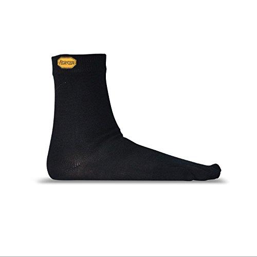 Vibram Merino Wool-Blend Crew Toe Socks (Medium, Black)