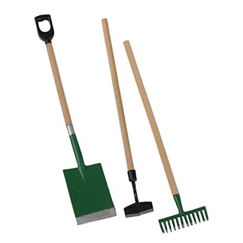 SUPVOX - Juego de 3 herramientas de jardín en miniatura 1:12 mini rastrillo de jardín zen pala modelo juguetes primeros para niños