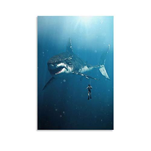 Megalodon - Lienzo decorativo con diseño de tiburón y cuadros para dormitorio, comedor, 20 x 30 cm