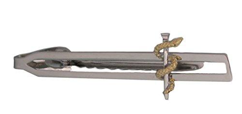 Unbekannt Medizin Äskulapstab Krawattennadel Krawattenklammer 6,6 cm l. Bicolor + dunkler Geschenkbox