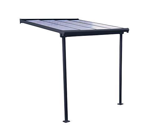 Palram Hochwertige Aluminium Terrassenüberdachung, Balkondach, Terrassendach Sierra 230x230 cm (TxB) Grau