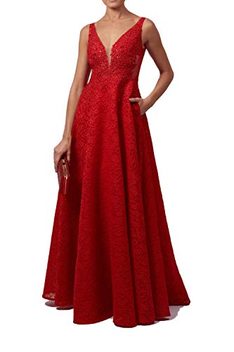 Mascara London rot mc11942 Spitze Ballkleid