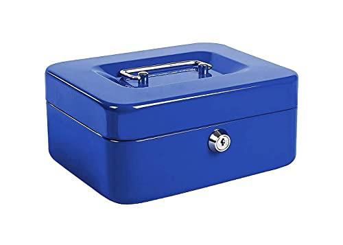 Kippen 10033B1 - Caja de caudales azul, medidas: 150 x 120 x 80 mm
