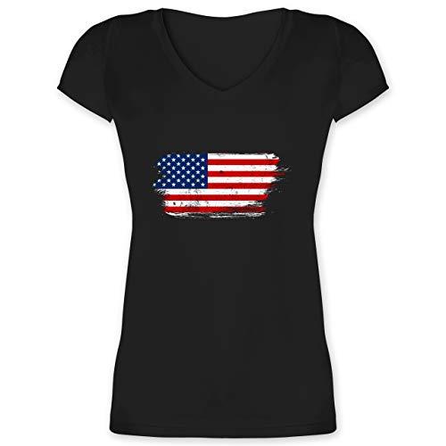 Länder - USA Vintage - XL - Schwarz - F281N_Damen_Kurzarm_Vneck - XO1525 - Damen T-Shirt mit V-Ausschnitt