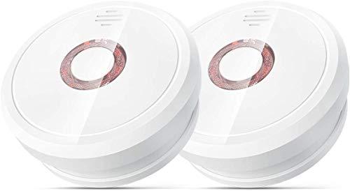 Isafenest Rauchmelder Feuermelder 5-Jahres- Batterie Brandmelder mit Geprüftem Photoelektrischem Sensor, Staubdichtem Design 85dB, 2er Pack