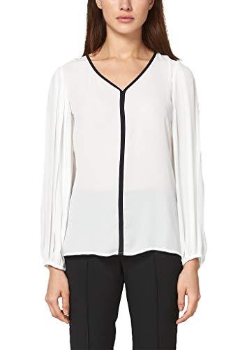 s.Oliver BLACK LABEL Damen Crêpe-Bluse mit Plissee-Ärmeln soft white 34