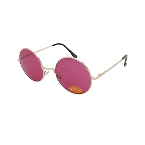 CHICNET Sonnenbrille Unisex Rund Hippie Brille John Lennon getönt 400UV langer Steg rosa gold