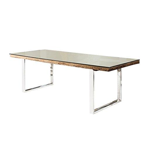 Massieve eettafel BARRACUDA teak met stalen schaatspoten 240 cm incl. glasplaat tafel houten tafel
