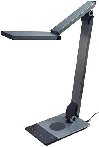 FeinTech LED Schreibtisch-Leuchte mit Ladefunktion (drahtlos + USB), 10 W, Silbergrau